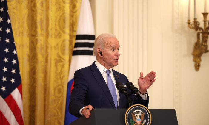 U.S. President Joe Biden speaks during a joint press conference with South Korean President Moon Jae-in in the East Room of the White House in Washington, DC on May 21, 2021. (Anna Moneymaker/Getty Images)