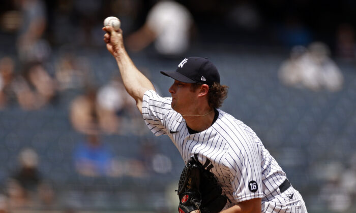 New York Yankees pitcher Gerrit Cole throws during the first inning of a baseball game against the Chicago White Sox in New York  on May 22, 2021. (Adam Hunger/AP Photo)
