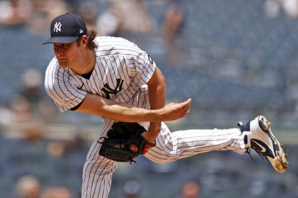 Yankees pitcher Gerrit Cole throws