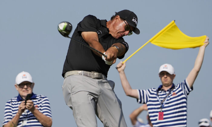 Phil Mickelson hits his tee shot on the 15th hole during the second round of the PGA Championship golf tournament on the Ocean Course in Kiawah Island, S.C., on May 21, 2021. (David J. Phillip/AP Photo)