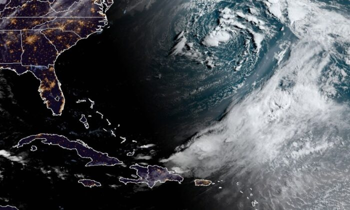 Subtropical Storm Ana seen in this enhanced image from the GOES-E satellite on May 22, 2021. (NOAA)