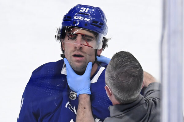 John Tavares receives attention from a trainer