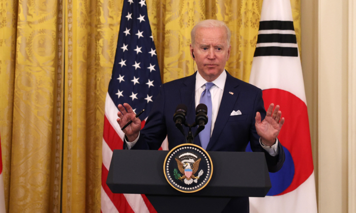 President Joe Biden and South Korean President Moon Jae-in (not shown) participate in a joint press conference in the East Room of the White House, in Washington, on May 21, 2021. (Anna Moneymaker/Getty Images)