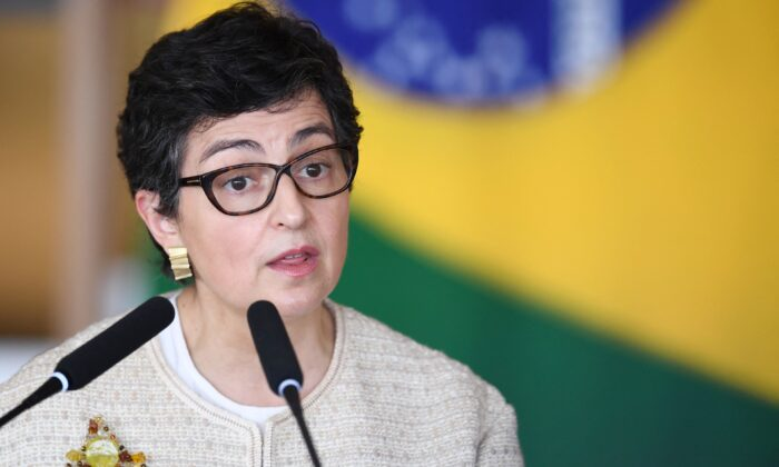 Spanish Minister of Foreign Affairs Arancha Gonzalez Laya delivers a statement to the press with her Brazilian counterpart Carlos Franca (out of frame) at the Palacio Itamaraty in Brasilia, on May 7, 2021. ( Evaristo Sa/AFP via Getty Images)