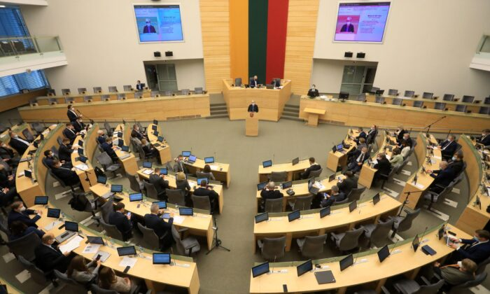 Lithuania's Homeland Union and Lithuanian Christian Democrats Party leader Ingrida Simonyte delivers her speech at the parliament in Vilnius, Lithuania, on Nov. 24, 2020. (Petras Malukas/AFP via Getty Images)