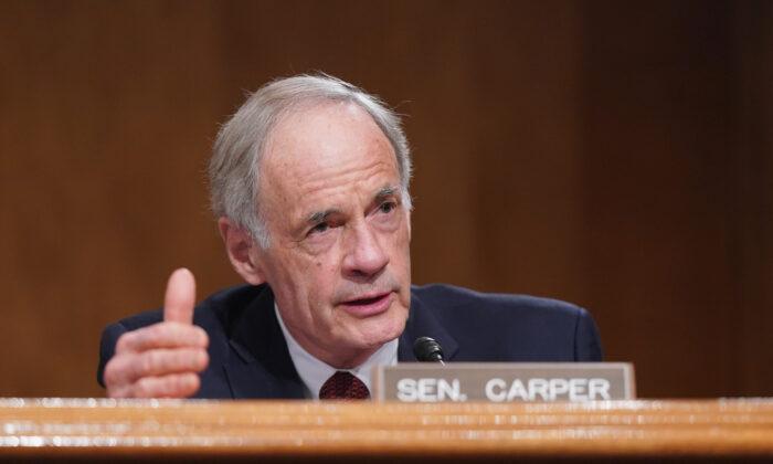 Sen. Tom Carper (D-Del.) at the U.S. Capitol in Washington on Feb. 9, 2021. (Leigh Vogel-Pool/Getty Images)
