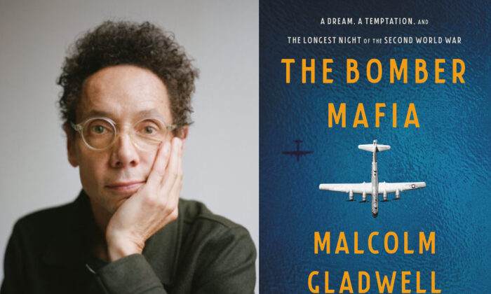 """The author Malcolm Gladwell and the cover of his latest book """"The Bomber Mafia."""""""