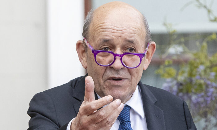 French Minister for Foreign Affairs Jean-Yves Le Drian speaks during a joint press conference with Irish Minister for Foreign Affairs Simon Coveney, at Farmleigh House and Estate in Dublin on May 20, 2021. (Paul Faith/AFP via Getty Images)