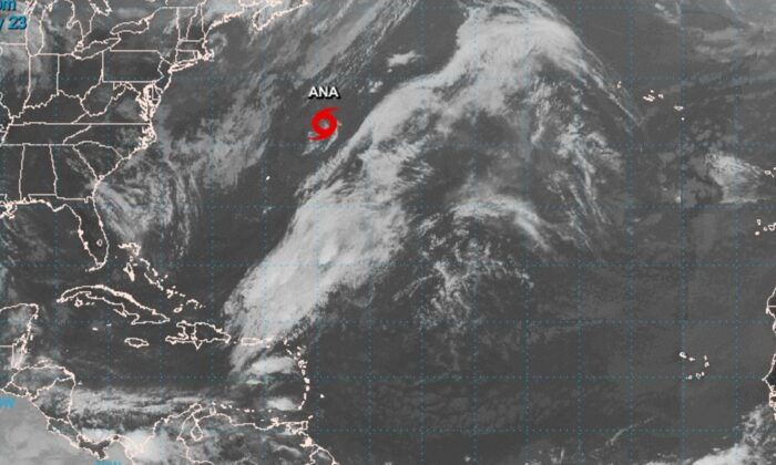 Tropical Storm Ana is seen in this satellite image on May 23, 2021. (The National Hurricane Center)