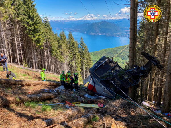 A crashed cable car