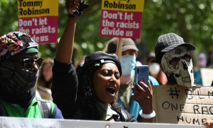 Sasha Johnson, center, of the Black Lives Matter movement attends a protest at Hyde Park in London on June 13, 2020. (Alberto Pezzali/AP Photo)
