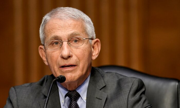 Dr. Anthony Fauci, director of the National Institute of Allergy and Infectious Diseases, speaks during a Senate Health, Education, Labor and Pensions Committee hearing to discuss the ongoing federal response to COVID-19 in Washington on May 11, 2021. (Greg Nash-Pool/Getty Images)