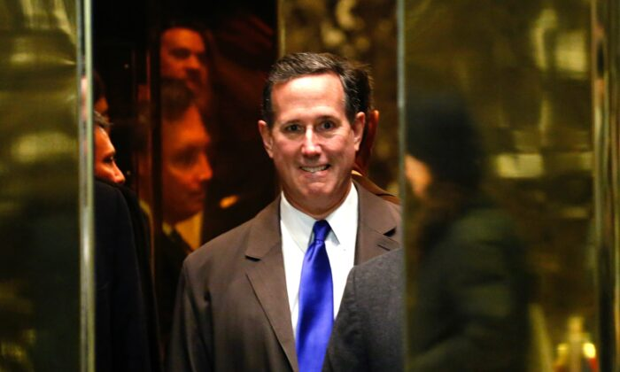 Rick Santorum arrives for a meeting with U.S. President-elect Donald Trump at Trump Tower in New York on Dec. 12, 2016. (Kena Betancur/AFP via Getty Images)