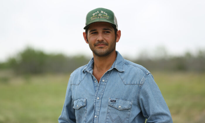 Cole Hill on his ranch in Kinney County, Texas, on May 25, 2021. (Charlotte Cuthbertson/The Epoch Times)
