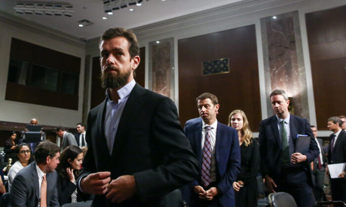 Jack Dorsey, CEO of Twitter Inc., testifies at a hearing to examine foreign influence operations' use of social media platforms before the Intelligence Committee at the Capitol in Washington on Sept. 5, 2018. (Samira Bouaou/The Epoch Times)