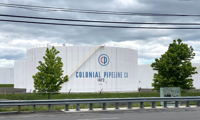 Holding tanks are pictured at Colonial Pipeline's Linden Junction Tank Farm in Woodbridge, N.J., on May 10, 2021. (Hussein Waaile/Reuters)