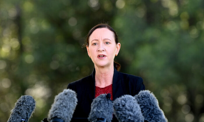Health Minister Yvette D'Ath speaks after the announcement of a three-day lockdown for the Greater Brisbane area in Brisbane, Australia on Mar. 29, 2021. (Photo by Bradley Kanaris/Getty Images)