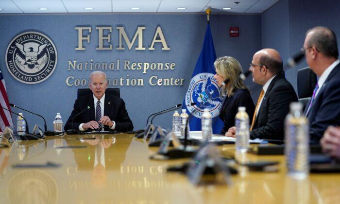 President Joe Biden participates in a briefing on the upcoming Atlantic hurricane season, at FEMA headquarters in Washington on May 24, 2021. (Evan Vucci/AP Photo)