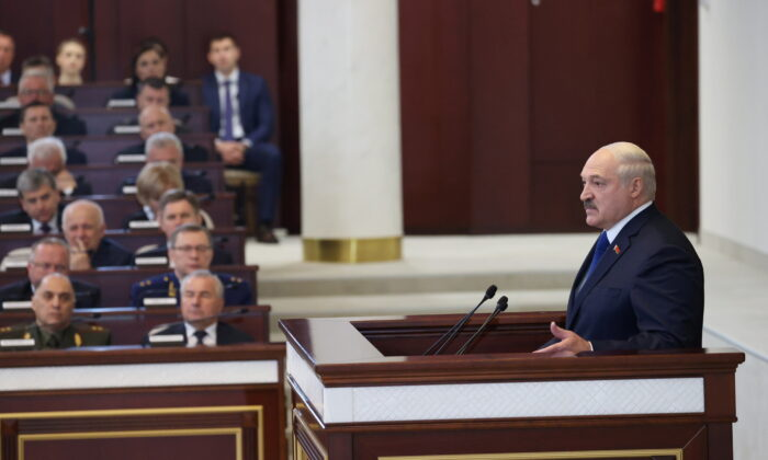 Belarusian President Alexander Lukashenko delivers a speech during a meeting with parliamentarians, members of the Constitutional Commission and representatives of public administration bodies, in Minsk, Belarus, on May 26, 2021. (Maxim Guchek/BelTA/Handout via Reuters)