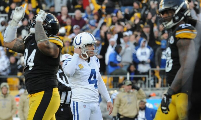 Indianapolis Colts kicker Adam Vinatieri (4) reacts after missing a field goal in the final minute against the Pittsburgh Steelers at Heinz Field. The Steelers won 26-24. (Philip G. Pavely-USA TODAY Sports/ File Photo)