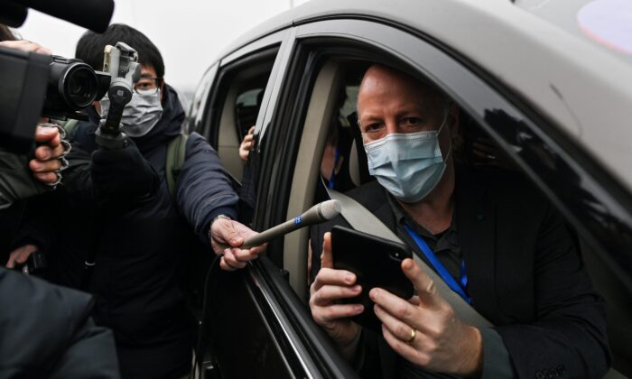 Peter Daszak, a member of the World Health Organization team investigating the origins of COVID-19, speaks to media upon arriving at the Wuhan Institute of Virology in Wuhan in China's central Hubei province on Feb. 3, 2021. (Hector Retamal/AFP via Getty Images)