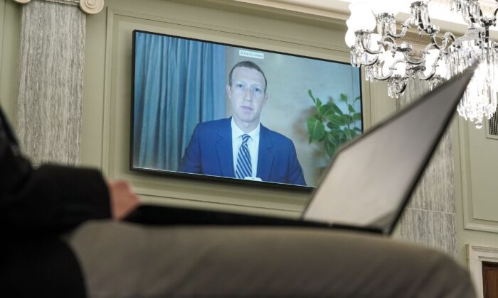 Facebook CEO Mark Zuckerberg testifies remotely during a hearing in Washington, on Oct. 28, 2020. (Greg Nash/POOL/AFP via Getty Images)