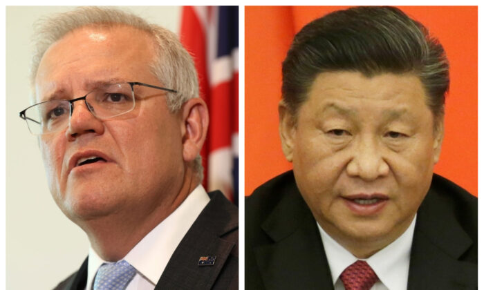 This combination of pictures created on May 26, 2021 shows recent portraits of Australian Prime Minister Scott Morrison (L) and Chinese Communist Party leader Xi Jinping (R). (Paul Kane, Jason Lee-Pool/Getty Images