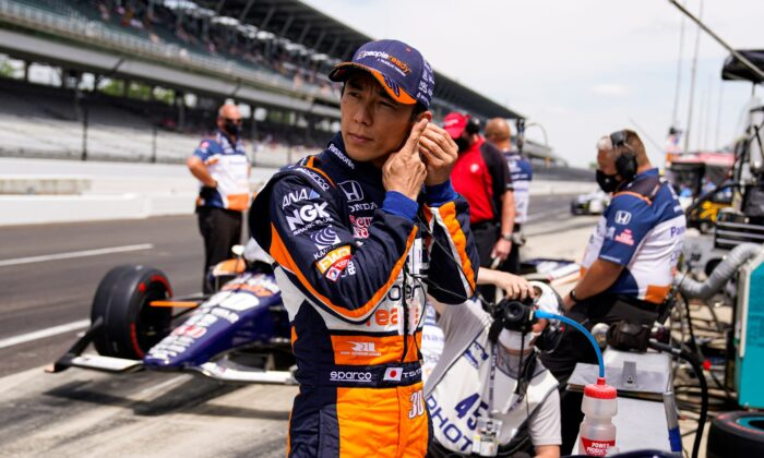 Takuma Sato, of Japan, prepares to drive during practice for the Indianapolis 500 auto race at Indianapolis Motor Speedway in Indianapolis, Ind., on May 21, 2021. (Michael Conroy/AP Photo)