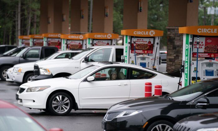 Motorists refuel at a Circle K gas station in Fayetteville, N.C., on May 12, 2021. (Sean Rayford/Getty Images)
