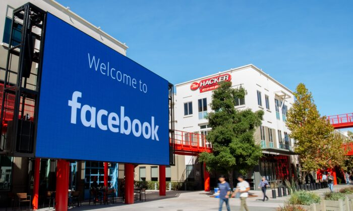 A giant digital sign is seen at Facebook's corporate headquarters campus in Menlo Park, Calif., on Oct. 23, 2019. (Josh Edelson/AFP via Getty Images)