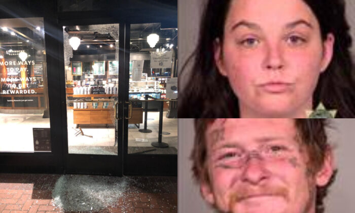 (L) Damage to a business inflicted by rioters. (R) Two of those arrested during the rioting, Elizabeth Hall and Jacob Myers, are pictured in mugshots. (Portland Police Bureau; Multnomah County Sheriff's Office)