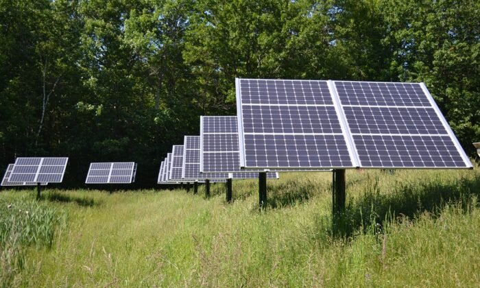 An array of solar panels in a field. (WikimediaImages / Pixabay)