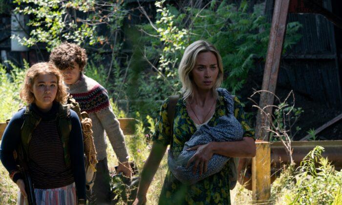 "(L–R) Millicent Simmons, Noah Jupe, Emily Bluntstar in ""A Quiet Place Part II."" (Paramount Pictures)"