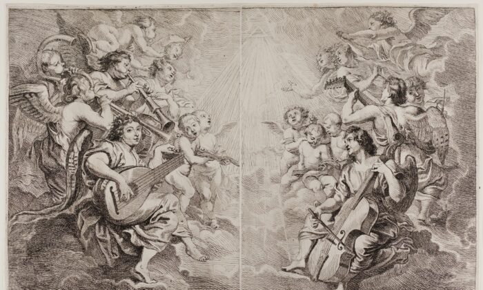 """""""Angels Making Music"""" by Cornelis Schut I after Peter Paul Rubens, circa 1650. Etching from two plates in black on ivory laid paper. John H. Wrenn Memorial Endowment, Art Institute Chicago (public domain)."""