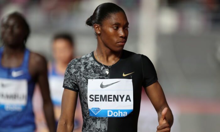 South Africa's Caster Semenya is seen before the women's 800 meters during the IAAF Diamond League event at the Khalifa International Stadium in Doha, Qatar, on May 3, 2019. (Ibraheem Al Omari/Reuters)