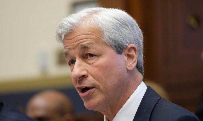 Jamie Dimon, chief executive officer of JPMorgan Chase & Co., speaks during a House Financial Services Committee hearing on Capitol Hill in Washington  on April 10, 2019. (Alex Wroblewski/Getty Images)