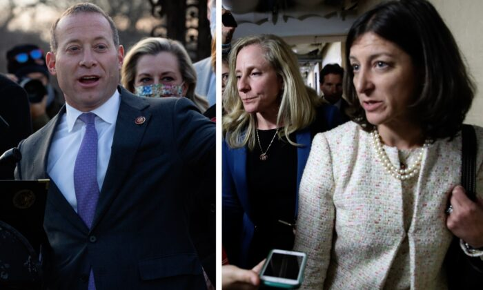 (L-R) Rep. Josh Gottheimer (D-N.J.) speaks outside the U.S. Capitol in Washington on Dec. 21, 2020. (Cheriss May/Getty Images); Rep. Elaine Luria (D-Va.) at the U.S. Capitol in Washington on Sept. 24, 2019. (Win McNamee/Getty Images)