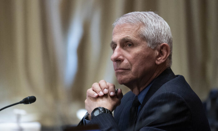 NIAID director Dr. Anthony Fauci listens during a Senate Appropriations Labor, Health and Human Services Subcommittee hearing looking into the budget estimates for National Institute of Health and state of medical research on Capitol Hill in Washington, on May 26, 2021. (Sarah Silbiger/Pool/Getty Images)