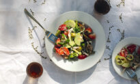 Cretan Summer Salad With Fresh Cheese and Traditional Rusks