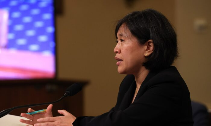 Trade Representative Katherine Tai speaks during a hearing with the House Ways and Means committee at Capitol Hill in Washington, on May 13, 2021. (Anna Moneymaker/Getty Images)
