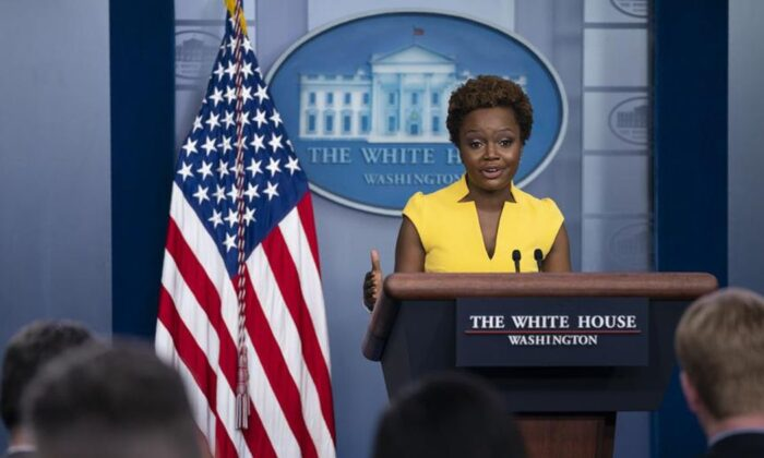 White House deputy press secretary Karine Jean-Pierre speaks during a press briefing at the White House, Wednesday, May 26, 2021, in Washington. (AP Photo/Evan Vucci)