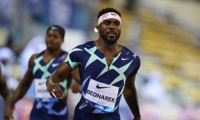 Kenny Bednarek of U.S. after winning the men's 200m during the Diamond League athletics meeting at the Suhaim bin Hamad Stadium in Doha, Qatar, on May 28, 2021. (Ibraheem Al Omari/Reuters)