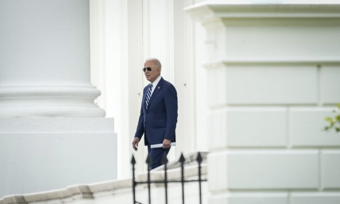 President Joe Biden departs the White House via the North Portico, in Washington on May 28, 2021. (Drew Angerer/Getty Images)