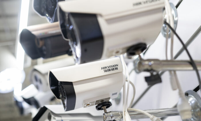 Hikvision cameras in an electronic mall in Beijing on May 24, 2019. (Fred Dufour/AFP via Getty Images)