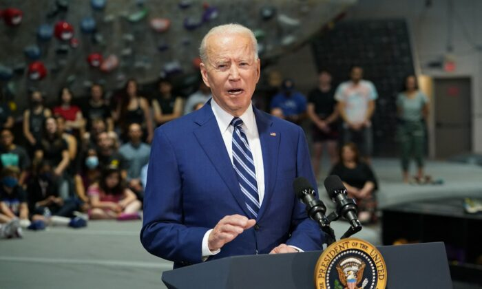 President Joe Biden speaks at the Sportrock Climbing Centers in Alexandria, Va., on May 28, 2021.  (Mandel Ngan/AFP via Getty Images)
