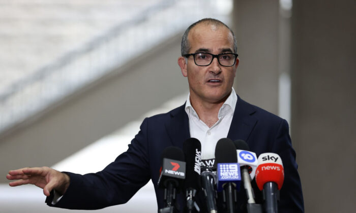 Acting Premier James Merlino speaks to the media on May 27, 2021 in Melbourne, Australia. (Robert Cianflone/Getty Images)