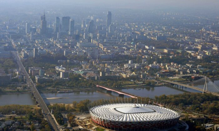 An aerial view of Warsaw, Poland, with the national stadium at the bottom, on Oct. 18, 2011. (Robert Grahn/AFP via Getty Images)
