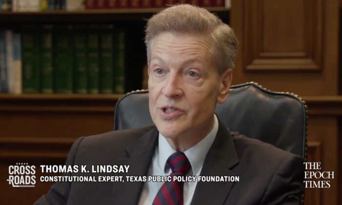 Thomas Lindsay,a distinguished senior fellow of higher education and constitutional studies at the Texas Public Policy Foundation, in an interview on May 27, 2021. (Crossroads/Screenshot via The Epoch Times)