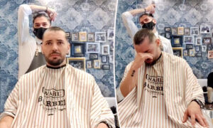 Video: Barber Shaves His Own Head to Support Coworker With Cancer, Moving Him to Tears