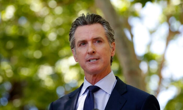 California Gov. Gavin Newsom speaks during a news conference in San Jose, Calif., on May 26, 2021. (Amy Osborne/AFP via Getty Images)